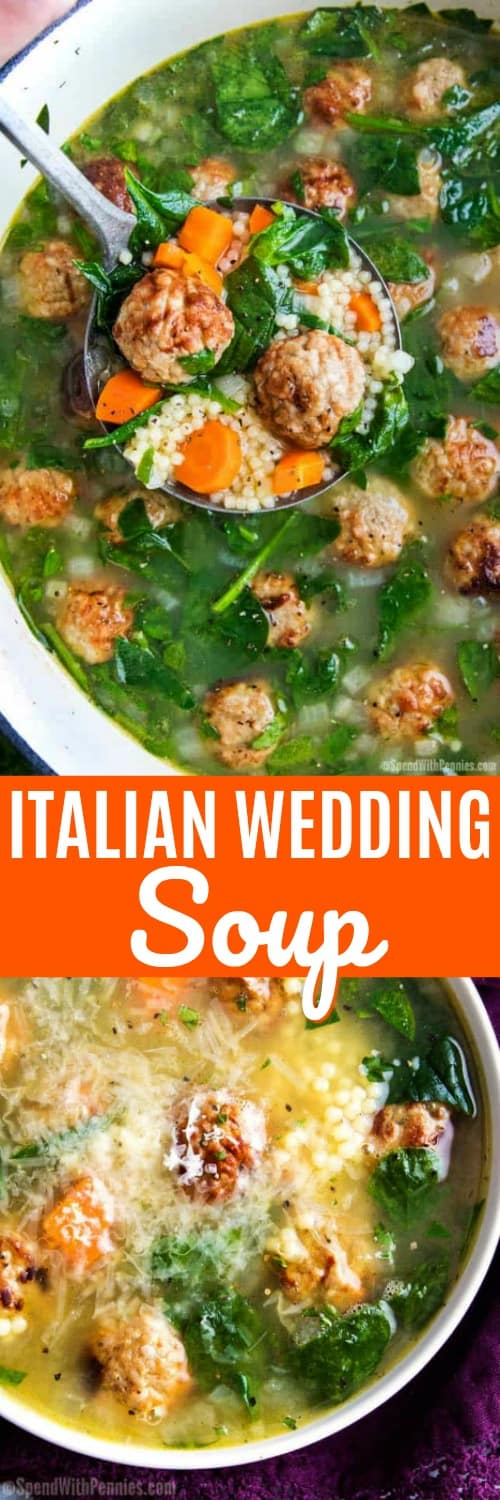 We just love with this hearty Italian Wedding Soup made easily on the stovetop! It's the perfect weeknight meal. #spendwithpennies #soup #easyrecipe #italianwedding #stovetop #easylunch #easydinner