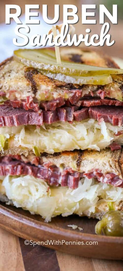 These delicious homemade reuben sandwiches are seriously good. We love using this classic reuben sandwich recipe to use up our leftover corned beef! #spendwithpennies #reuben #reubensandwich #sandwich #reubenrecipe #reubensandwichrecipe