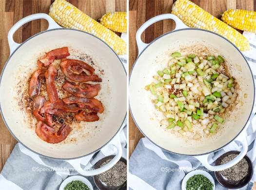 Two images showing bacon being fried and onions and celery being sautéed.