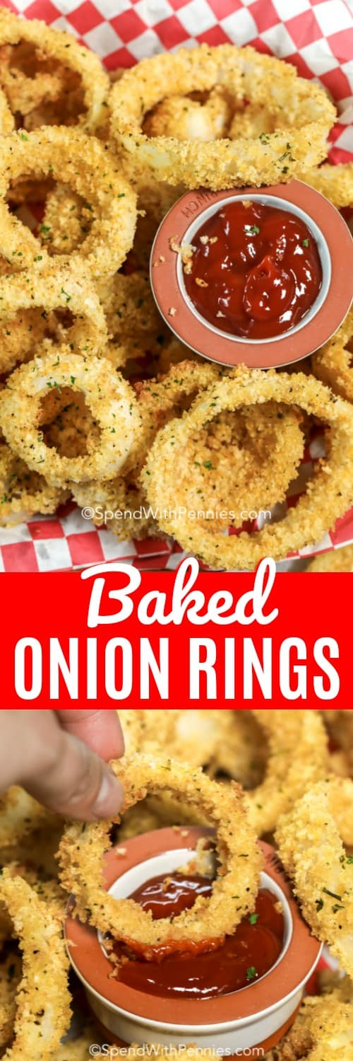 This easy oven baked onion ring recipe is made without baking powder and without deep frying! Sliced onions are dipped in a light batter and breaded with a Panko breadcrumb mixture before being baked until crispy. It's one of my families favorite homemade treats! #spendwithpennies #bakedonionrings #appetizer #sidedish #kidfriendly