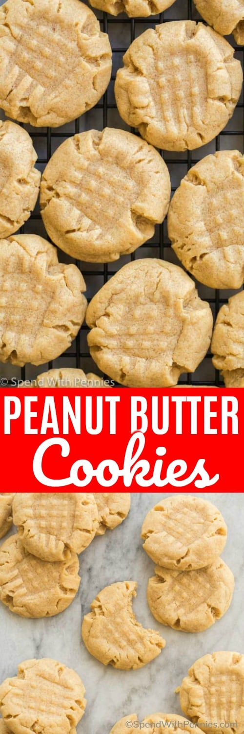 These peanut butter cookies are soft and chewy and so easy to make! They freeze perfectly so you can always have a stash on hand. #spendwithpennies #peanutbuttercookies #peanutbutter #cookies #easyrecipe #snack #cookielove