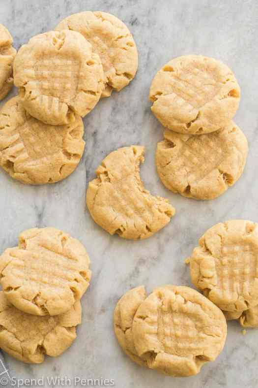 peanut butter cookies on marble