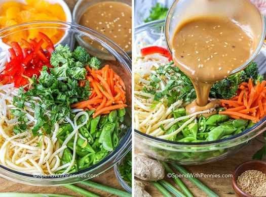 Two images showing the Asian noodle salad ingredients before and after dressing is poured ontop.