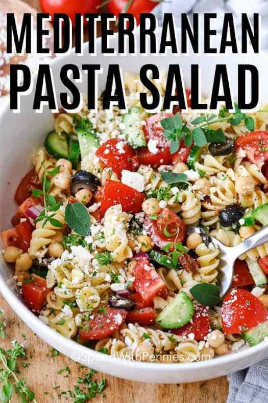 Mediterranean Pasta Salad in a white bowl.