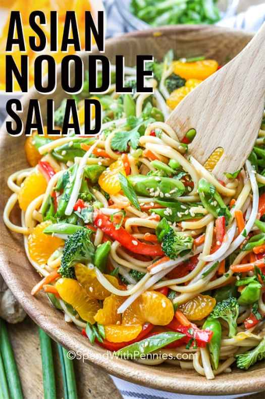 Asian noodle salad in a wooden bowl.