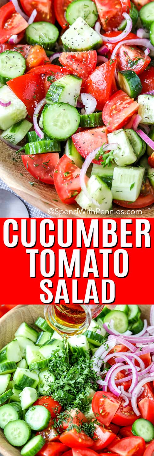 Top image - cucumber tomato salad in a wooden bowl. Bottom image - cucumber tomato salad ingredients in a wooden bowl with dressing being poured ontop.