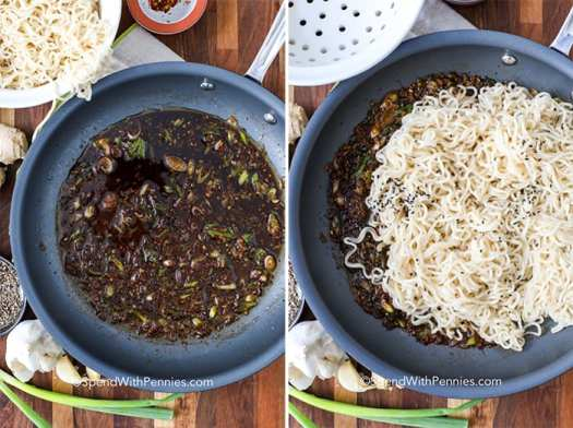 Two images showing the steps to prepare sesame ginger sauce with noodles.
