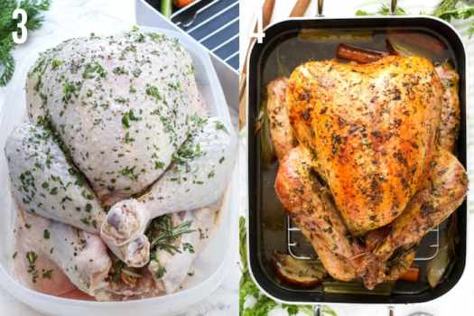 2 images of a roast turkey recipe. A turkey rubbed with fresh herbs raw and a roasted turkey in a roasting pan to serve