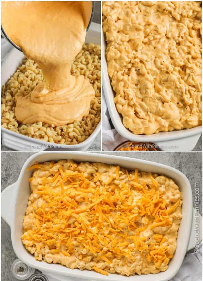 Assembling mac and cheese casserole