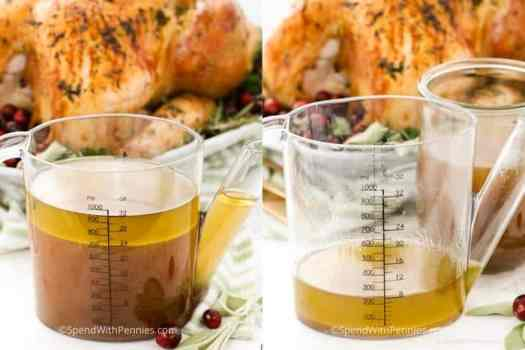 Two photos showing the separating of fat from the broth to make homemade gravy