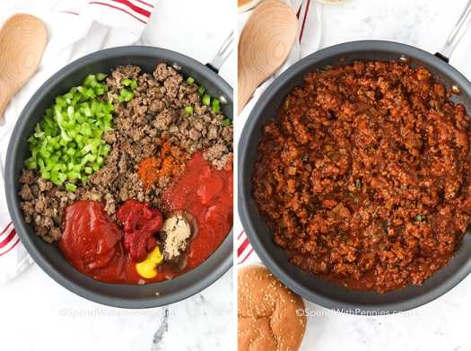 Sloppy Joe ingredients in a sauce pan before and after being mixed.