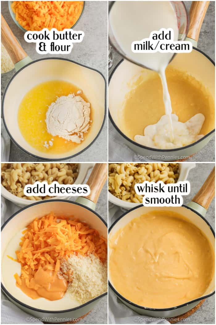 process of making sauce for Homemade Mac and Cheese Casserole