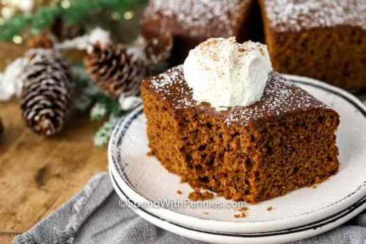 A slice of gingerbread of a plate topped with powdered sugar, whipped cream, and cinnamon.