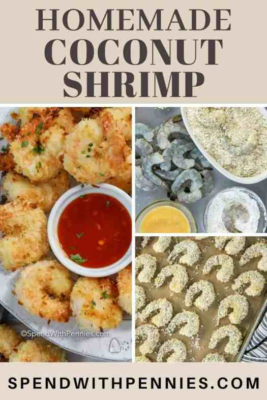 Left photo - Coconut Shrimp surrounding a small bowl of sauce. Top right - raw shrimp as it is being prepared. Bottom right - Coconut breaded shrimp on a baking pan ready to be baked.