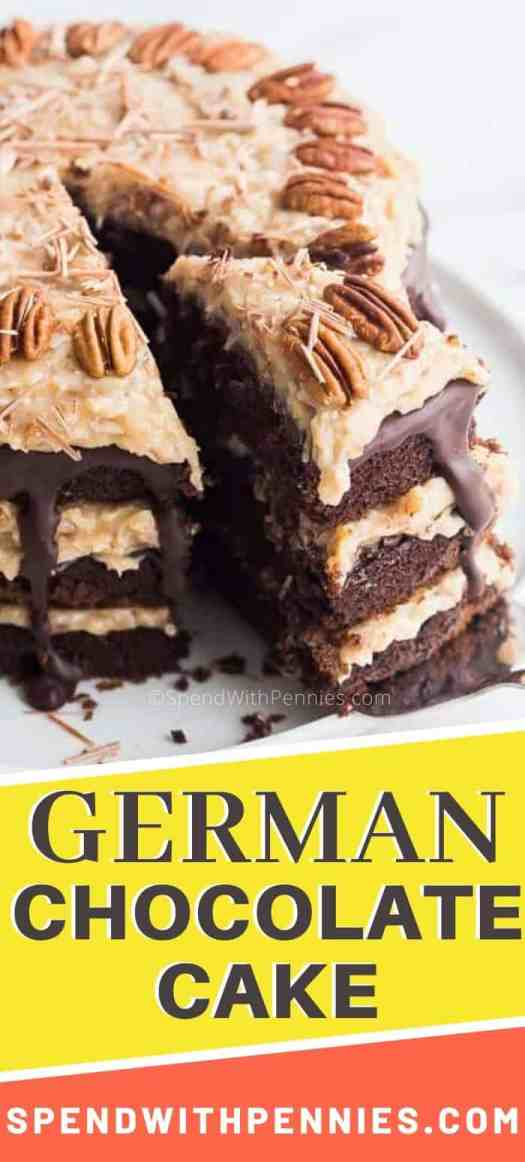 German chocolate cake with a slice being removed.
