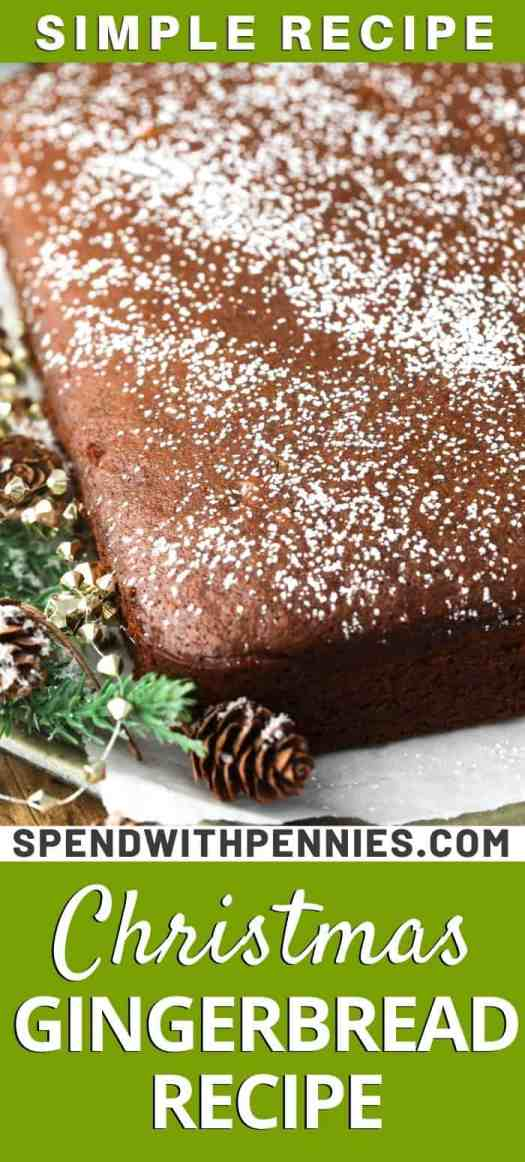 Gingerbread lightly dusted with powdered sugar.