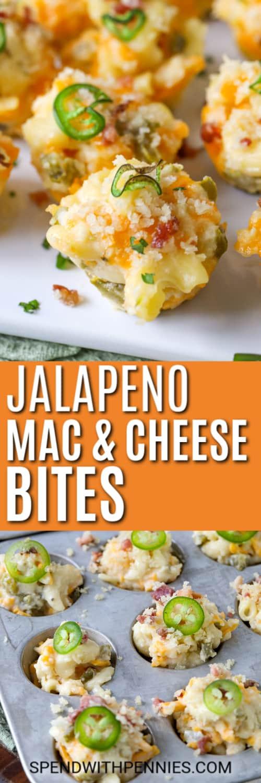 Top image - jalapeno mac and cheese bites. Bottom image - jalapeno mac and cheese bites topped with jalapenos.