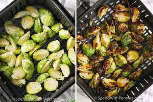 Air Fryer Brussel Sprouts in an air fryer with seasoning before and after being cooked