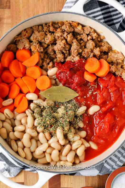Ingredients for Italian Bean Soup in a pan.
