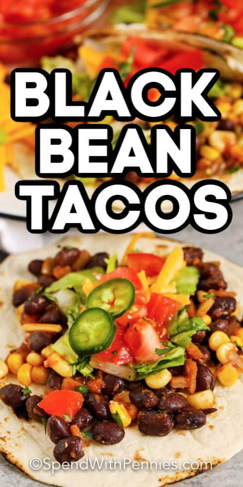 A black bean taco topped with lettuce, tomatoes, and jalapeños.