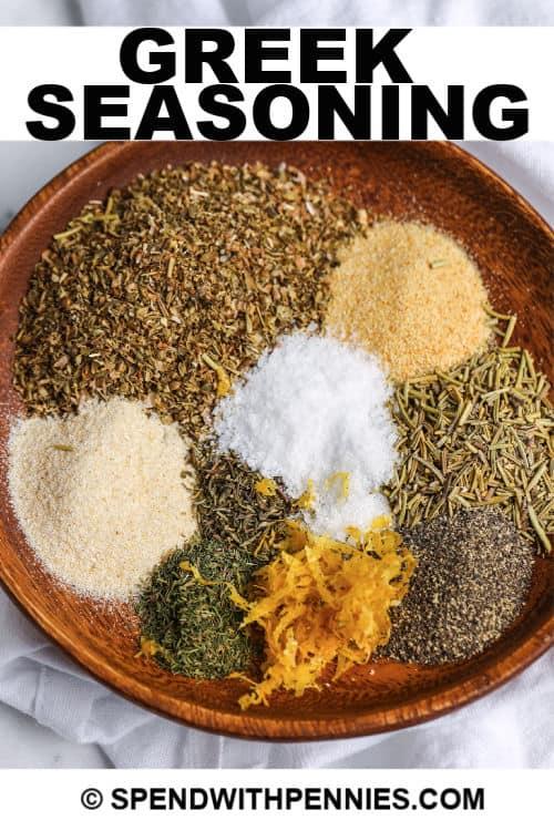 Greek seasoning ingredients with writing