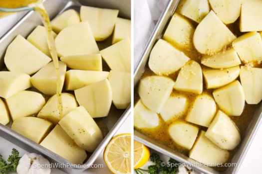 Greek Style Lemon Roasted Potatoes in a pan with broth and garlic