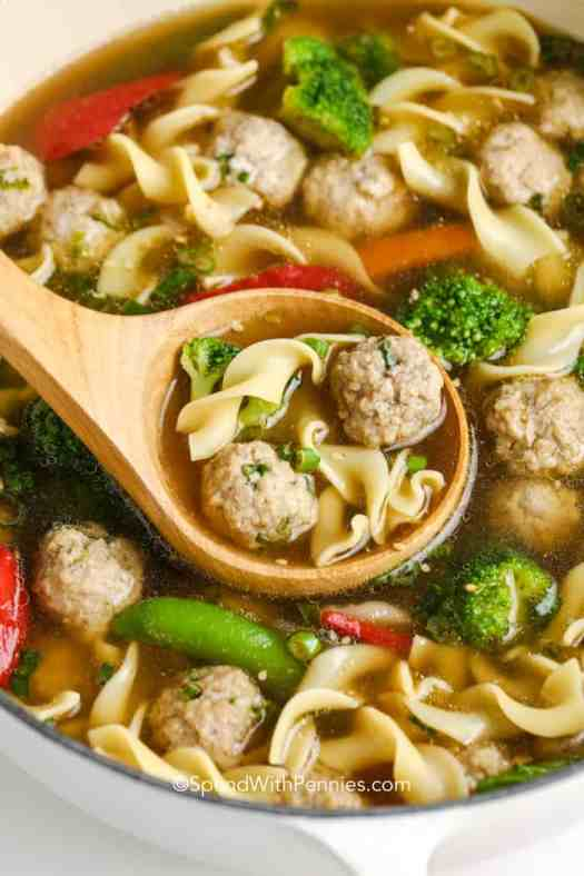 mini pork meatballs and vegetables with noodles