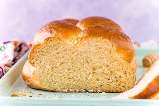 Close up photo of Challah Bread that has had the end sliced off.