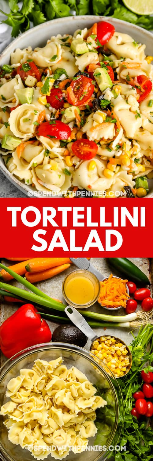 Tortellini Salad in a bowl and Tortellini Salad ingredients on a baking sheet with a title