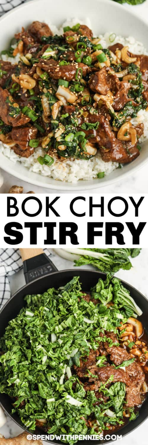 Beef & Bok Choy Stir Fry in the pan and plated with a title