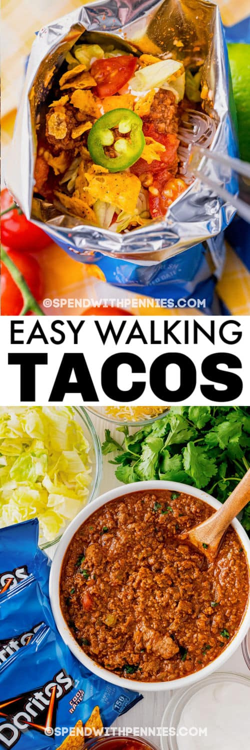 ingredients to make Walking Tacos with finished meal with a title