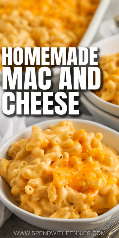 plated Homemade Mac and Cheese Casserole with a title