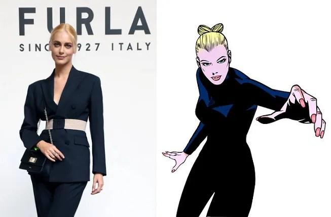 Miriam Leone bionda come Eva Kant alla Milano Fashion Week, in corso le riprese di Diabolik dei Manetti Bros