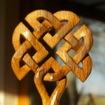Celtic knotwork oak whisky stave tree carving