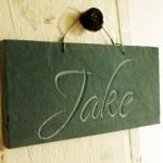 Jake carved slate name plaque