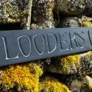 hand-carved lettering slate house sign Flooders Croft