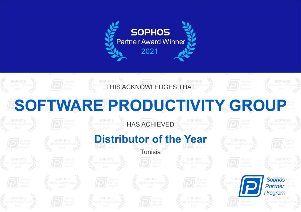 SOFTWARE PRODUCTIVITY GROUP sophos partner award certificate 2021 01