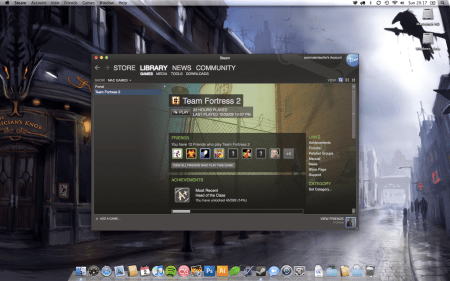 A screenshot of the Mac Games list in the Steam for Mac beta.
