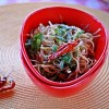Noodles tossed with Scallion and Red Chili Oil