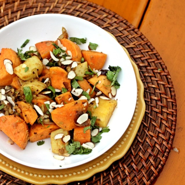 Sweet Potatoes with Shallots and Coriander