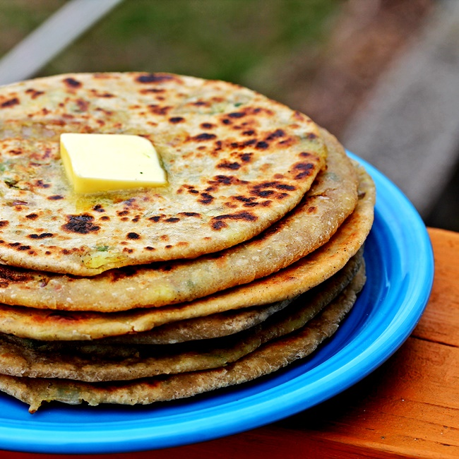 Alu Paratha - North Indian Whole Wheat Potato Stuffed Flatbreads