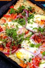 Masala Sheet Pan Egg Pizza