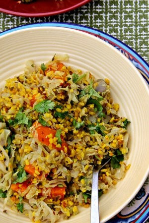 Yellow Lentils and Coconut Steamed Cabbage
