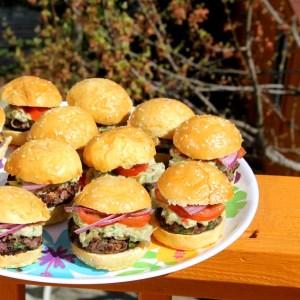 Cilantro Black Bean Burgers over Polenta Cakes and Guacamole