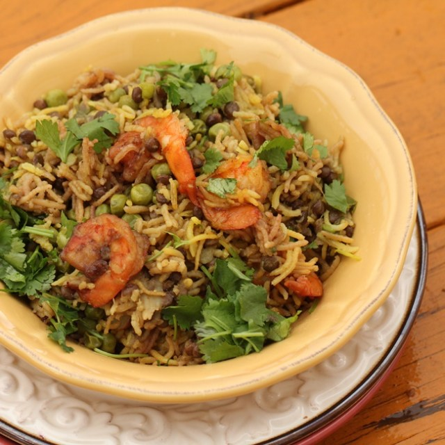 Shrimp and Green Lentil Pulao