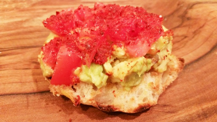 English Muffin with Avocado Tomato and Aleppo