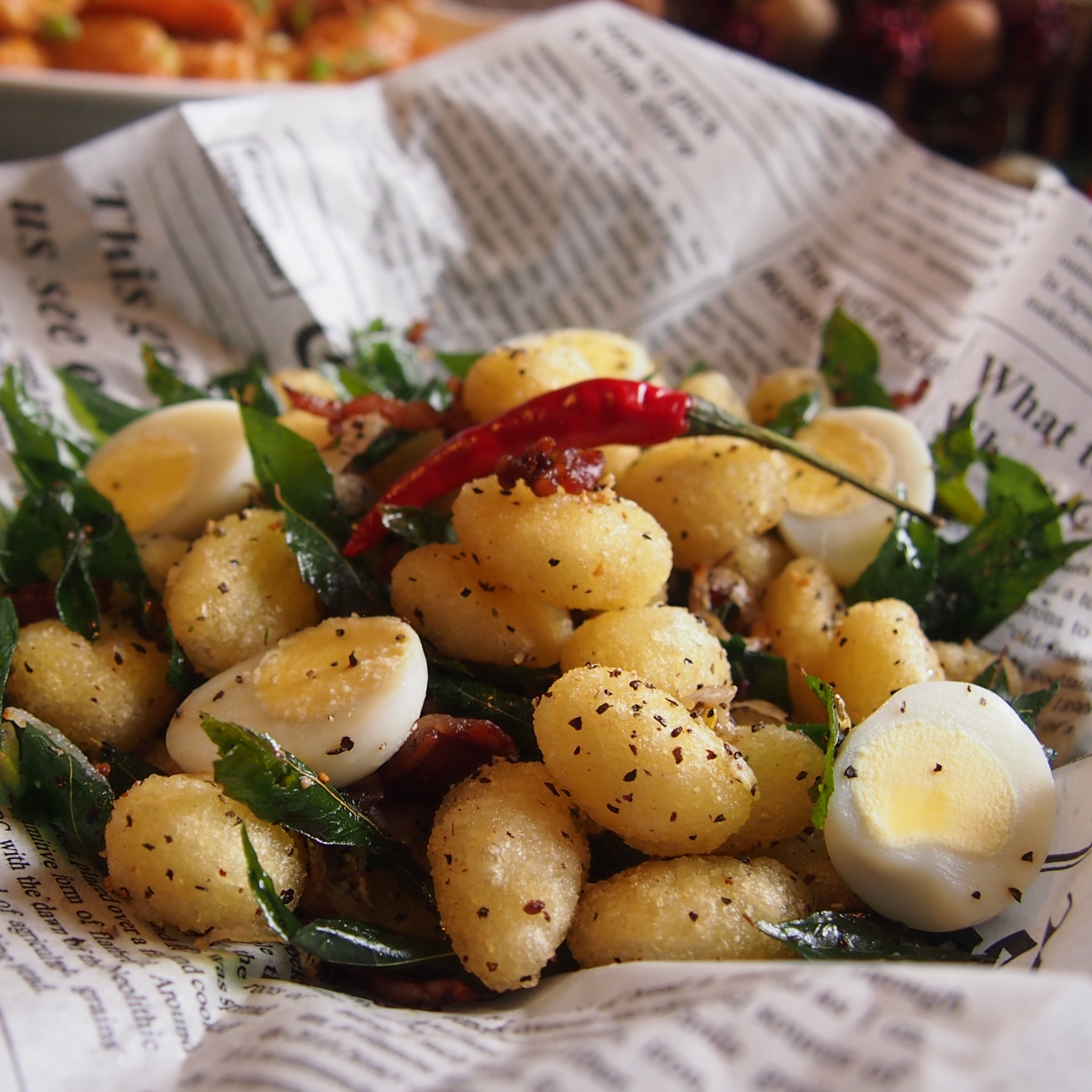 Black Pepper Gnocchi with Crispy Curry Leaves & Bacon.