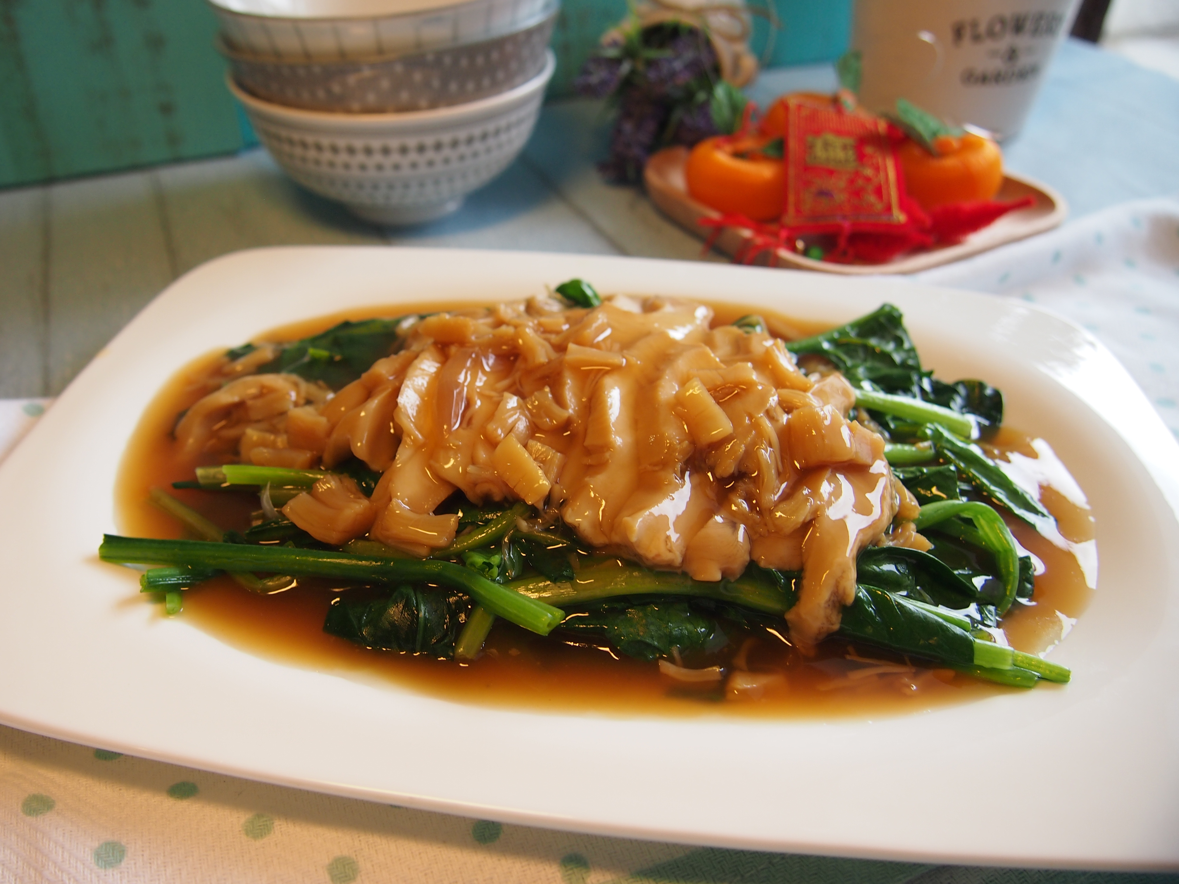 CNY Reunion Dinner Recipe: Braised Abalone with Spinach 鲍鱼菠菜