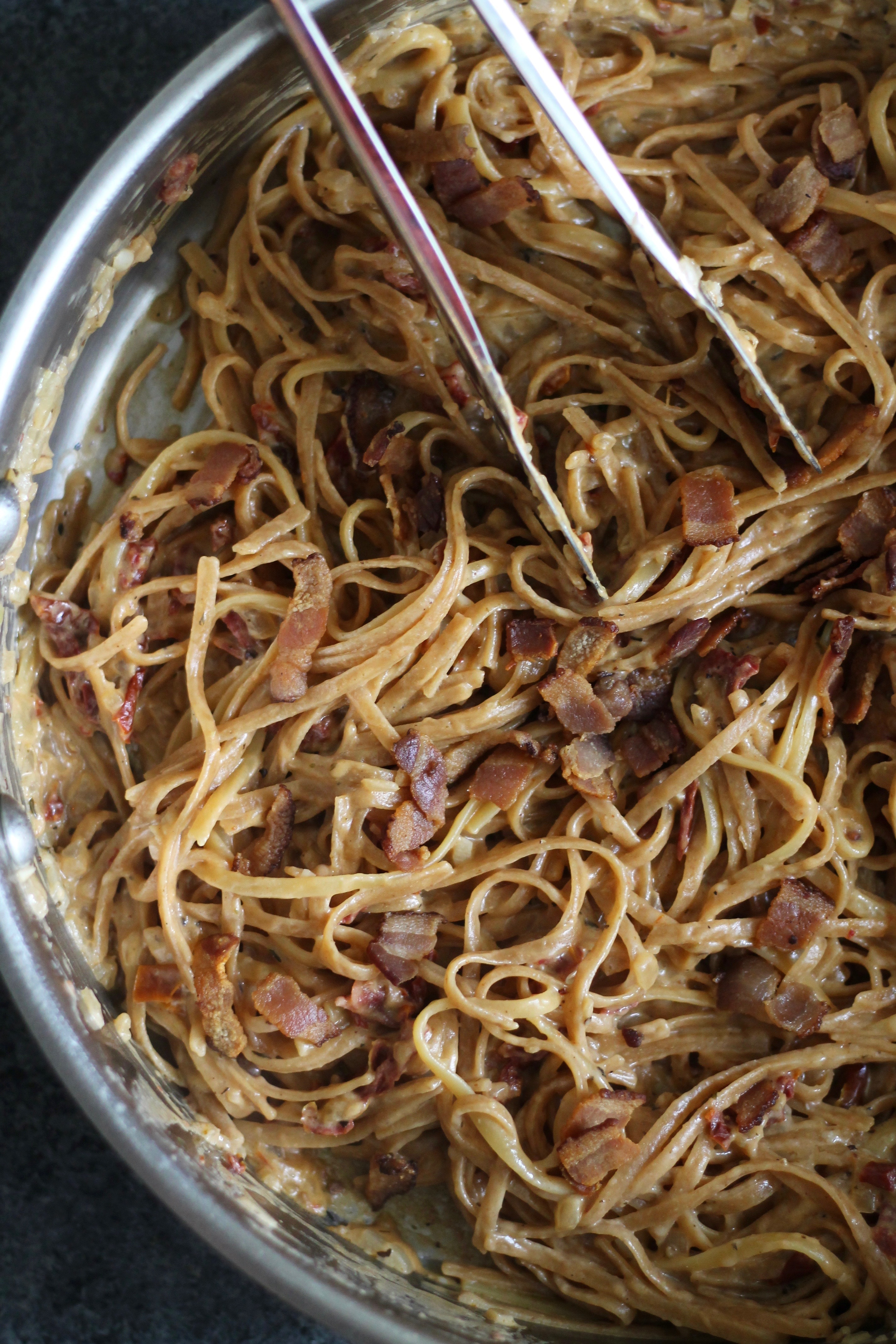 one pot lightened up creamy sundried tomato and bacon pasta