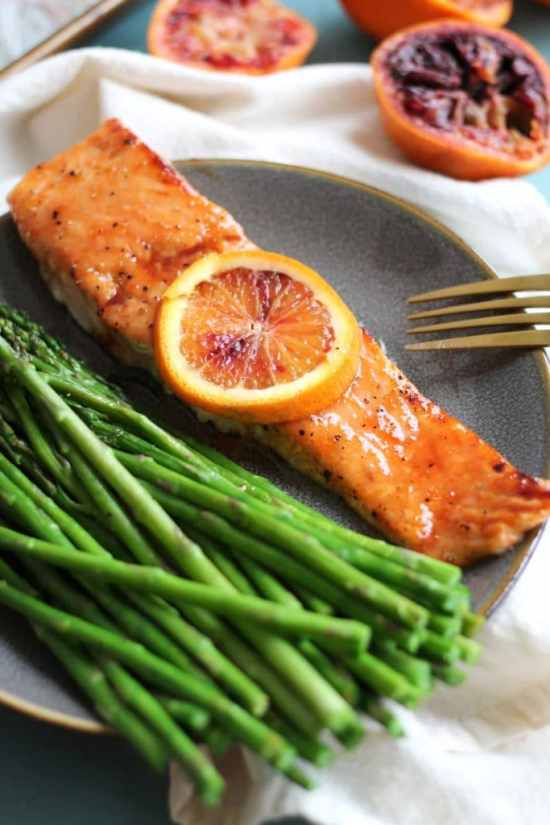 Blood Orange Honey Glazed Salmon